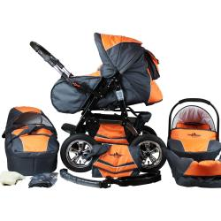 bergsteiger Kombi Kinderwagen »Milano orange grey 3in1« (10 tlg)