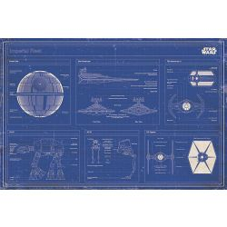 Star Wars Imperial Fleet Blueprint Poster Mehrfarbig