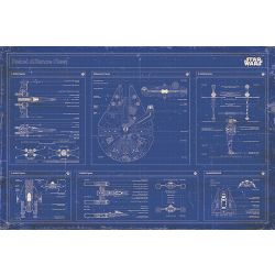 Star Wars Rebel Alliance Fleet Blueprint Poster Mehrfarbig