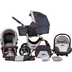 bergsteiger Kombi Kinderwagen »Capri grey red stripes 3in1« (10 tlg)