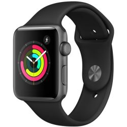 Apple Watch Series 3 Alu 42mm Spacegrau Sportarmband Schwarz