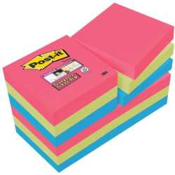 Post it 62212SJ Haftnotiz Super Sticky Notes 47.6 x 47.6 mm 12 Blöcke á 90 Blatt mohnrot neongrün ultrablau (62212SJ)