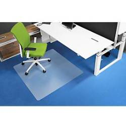 RS Office Products Bodenschutzmatte Ecogrip 120 x 130 cm Form O für Teppichböden transparent Makrolon