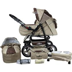 bergsteiger Kombi Kinderwagen »Rio coffee brown 3in1« (10 tlg) mit Lufträdern