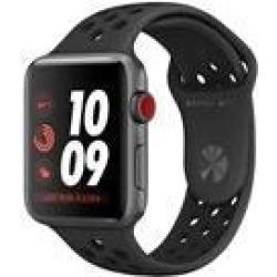 Apple Watch Nike Series 3 (GPS Cellular) 42 mm Weltraum grau Aluminium intelligente Uhr mit Nike Sportband Flouroelastomer anthrazit schwarz Bandgröße 140 210 mm 16GB Wi Fi Bluetooth 4G 34 9 g (MTH42ZD A)