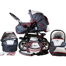bergsteiger Kombi Kinderwagen »Milano grey red stripes 3in1« (10 tlg)