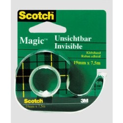 (0 19 EUR 1 m) Scotch Klebeband Magic Tape 810 19mm x 7 5m transparent im Abroller grün