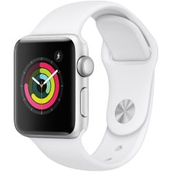 Apple Watch Series 3 38mm Aluminium silber Sportarmband Weiß
